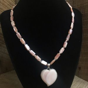 925 Sterling Silver LUC Pink Heart Necklace